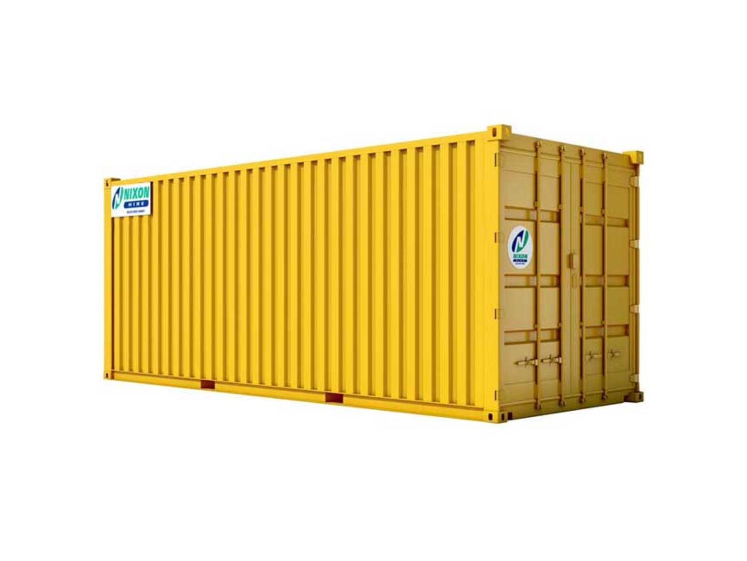 20 Foot High Security Shipping Container - Painted Yellow With Nixon Hire Logo Cut Out