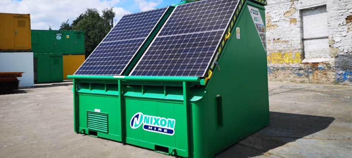 New Solar Pod With Retractable Panels Setup at Nixon Hire's Newcastle Depot