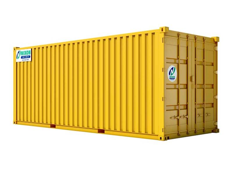 20' x 8' Secure Steel Container Cut Out - Yellow With Nixon Hire Decals