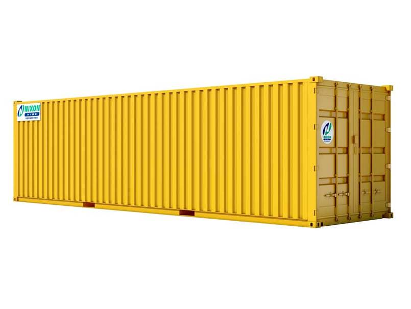 20' x 8' High Cube Secure Steel Container Cut Out - Yellow With Nixon Hire Decals