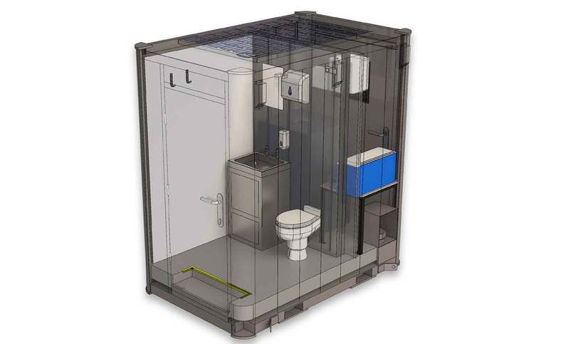 Interior 3D Drawing Of Portable Solar ToiletPod Unit With Features