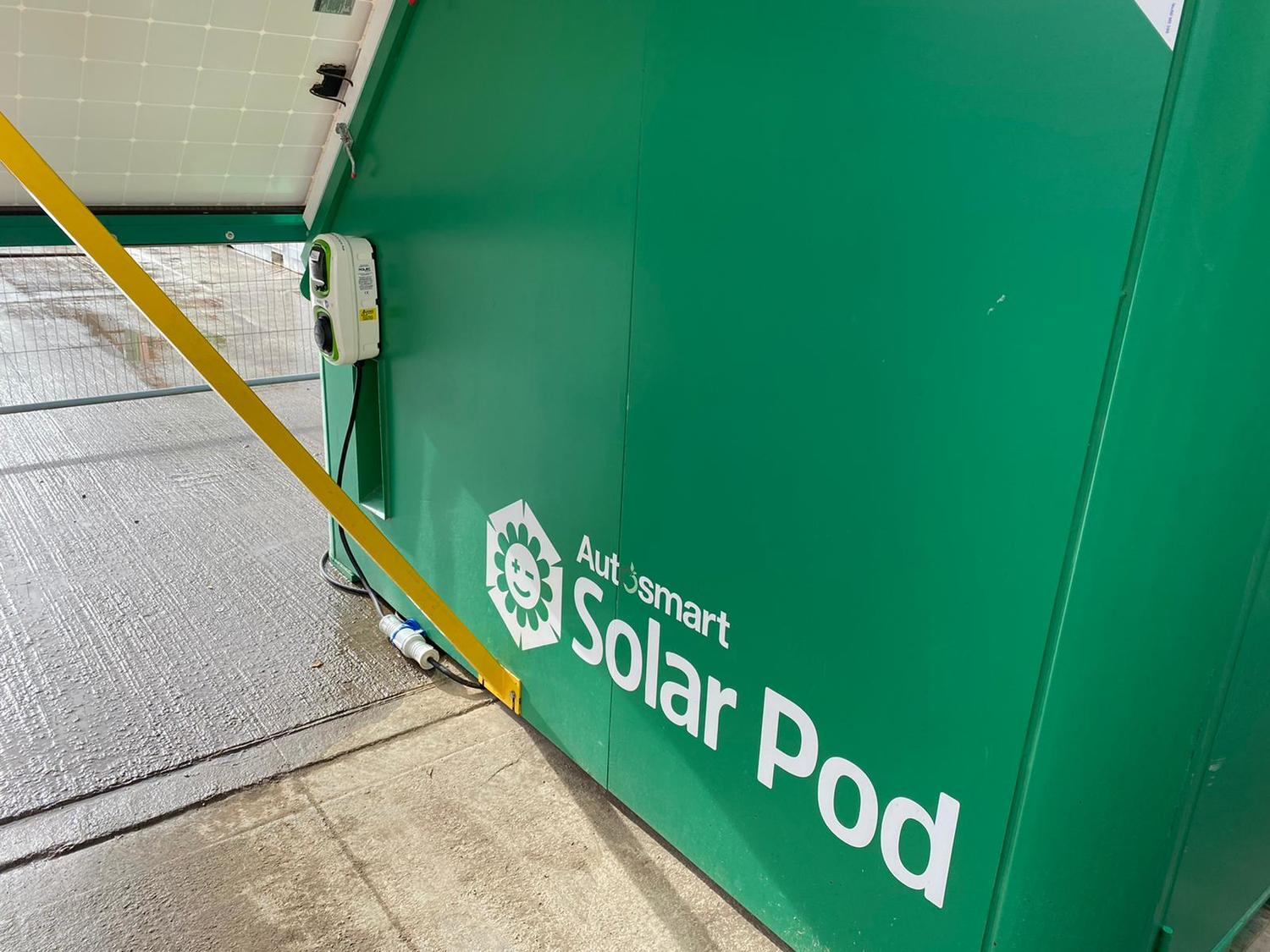WallPod:EV charging unit mounted to Solar Pod
