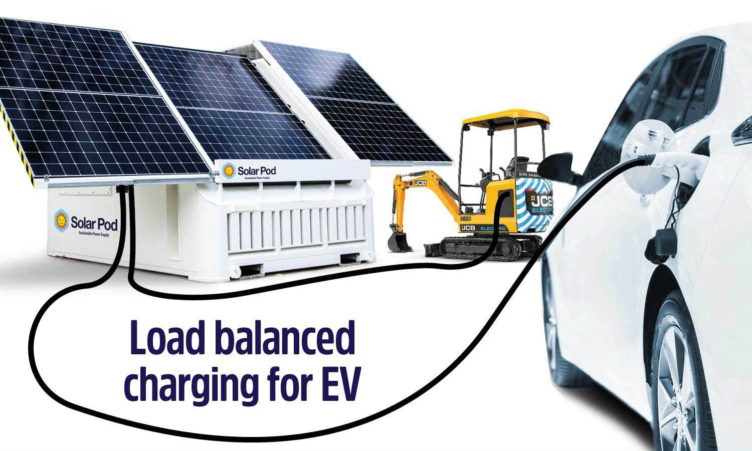Solar Pod connected to excavator and electric vehicle for charging