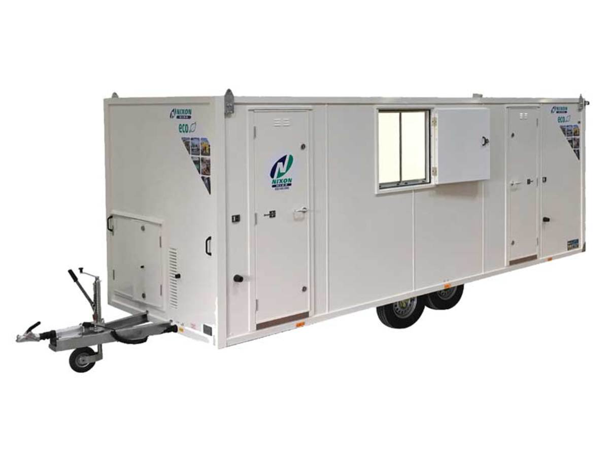 White Mobile Welfare Cabin Cut Out With Nixon Hire Decals