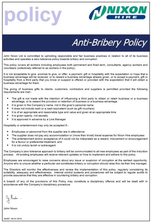 Anti-Bribery Policy