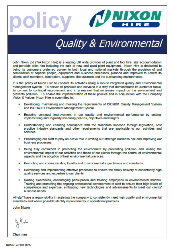 Quality & Environmental Policy
