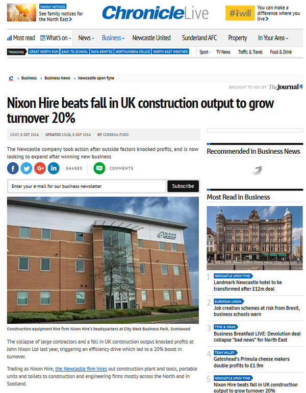Nixon Hire Beats Fall In UK Construction Output To Grow Turnover By 20%