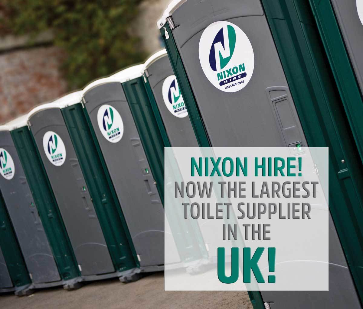 Row Of Nixon Hire Portable Toilets Ready For Event